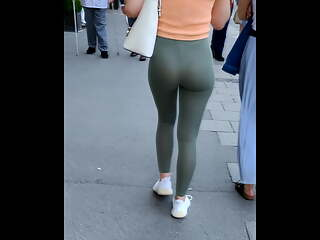 Girl walking in spandex - public see through ass (4K)