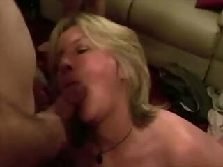 Wife throat trained by room of guys while handcuffed