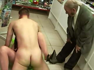 Amateur Russian guy with huge pubes fucks in a shop