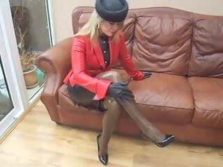Mature wife in shiny in latex stockings and heels