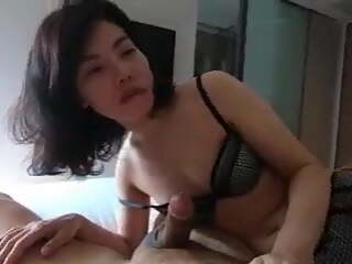 Chinese lady having fun