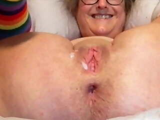 Mature Wife's Pussy Is Stretched, Husband Jacks Off And Cums