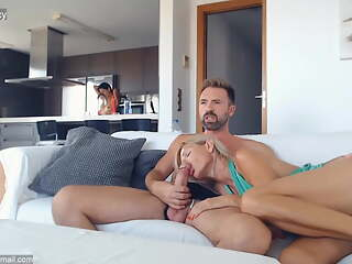 2 hot MILFs share a big cock on live cam