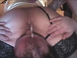 Cuck licks wife's cunt while bull fucks her doggystyle