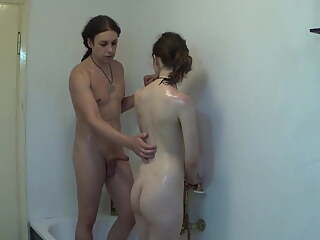 Threesome shower with sister