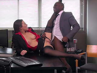 Black Stockings, TIFFANY DOLL Fucks A Big Cock In The Office