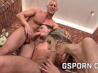 Bisexual threesome with two hot guys and a sexy milf