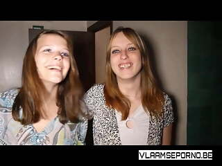 Lesbian girls from Belgium visiting a private sauna