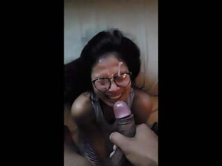 Jaqueline Tse (jaqlovesthesea), smiling blowjob and facial