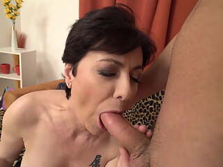 Mature mother sucks and fucks lucky boy