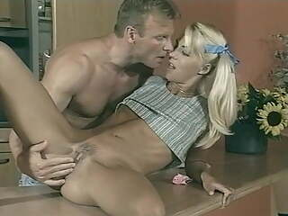 Good looking blonde has sex with sugar daddy