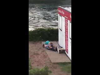 Risky public sex - couple caught fucking outdoors - voyeur