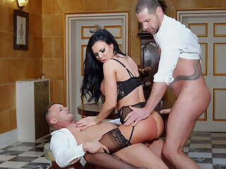 Black Stockings, Milf JASMINE JAE In Threesome DP