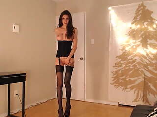Girl in stockings with long legs has an orgasm with toys, web video