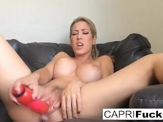 Capri Cavanni shoots a home movie solo with a toy