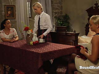 Petite Lesbian Slave Dominated In a Threeway With Maid And Mistress