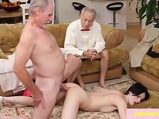 2 old men having sex with one girl