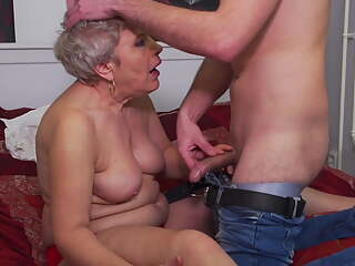 Grandma takes young cock