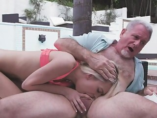 kinky blonde gags on her grandpa's cock