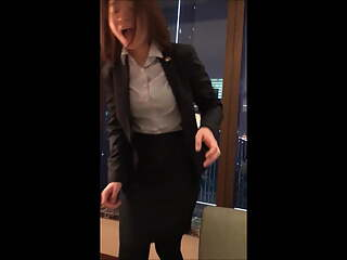 Chinese student gives blowjob in business suit after job interview