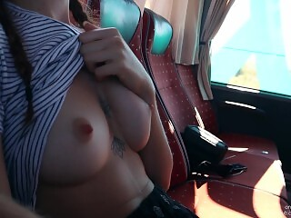 Risky Sex on Real Public Bus Ended with Huge Cumshot
