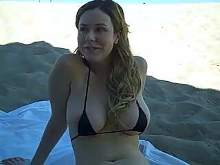 Shy and nervous gf with big tits in a tiny bikini flashes in public