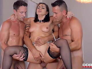 Lea Lexis in black stockings gets threesome DP