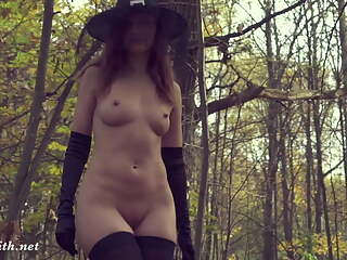 Take off my Halloween costume. Jeny Smith gets naked in forest