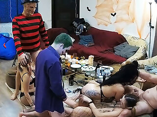 Hot Adult Swingers, Halloween Orgy Party Starts