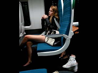 Spying on a pretty teen on a train