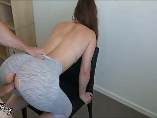 Creampie My Hot Step Sister in Her Ripped Yoga Pants