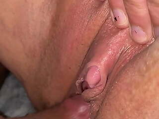 Two hard pulsing orgasms while fucking pierced pussy
