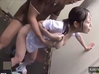 Japanese Schoolgirl gets fucked hard in the rain