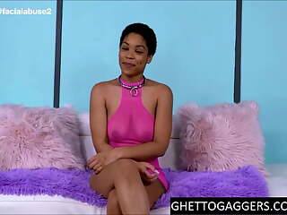 Cute Ebony Gets Her Throat Abused & Tight Asshole Stretched