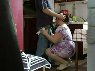 Chubby housewife spied on by a teen boy