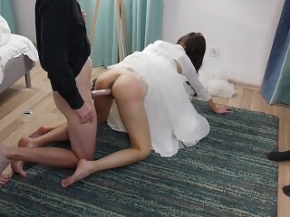 Creampie On Cuckold`s Cock.Condom Broke After Wedding