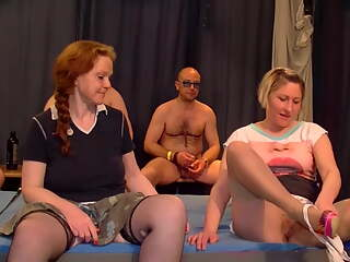 Two mature mothers in crazy gangbang
