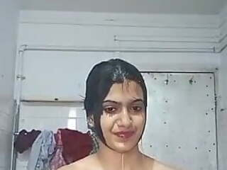 CUTE INDIAN GIRL IS BATHING