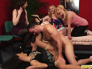 Cockhungry cfnm babes fucked by lucky guy