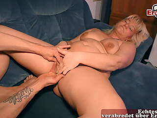 Ugly german blonde housewife is happy about big cock