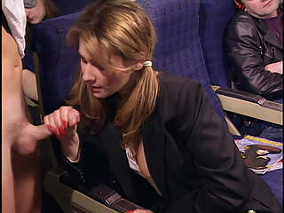Draghixa, public blowjob on a plane, upscaled to 4K