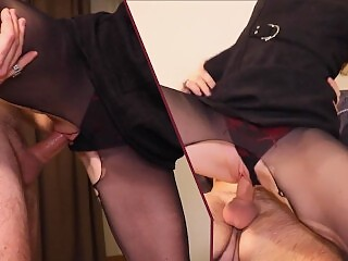 Hardcore deepthroat blowjob and rough fuck in torn pantyhose