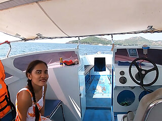 Rented a boat for a day and had sex on it with Asian teen GF