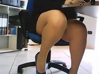 Hidden cam under desk in office, spies on secretary amateur