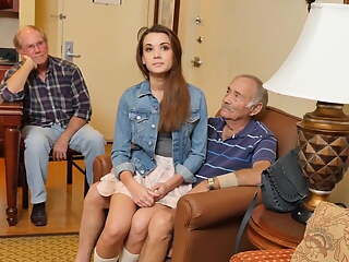 Teen lets her stepdad and his friends fuck her