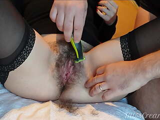Shaving naughty teacher's pussy with intense fingering orgasm
