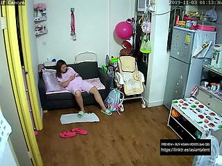 Chinese mom masturbates while watching porn, caught by ip cam