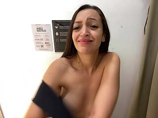 My Girlfriend trying on a new Bra in the Changing Room