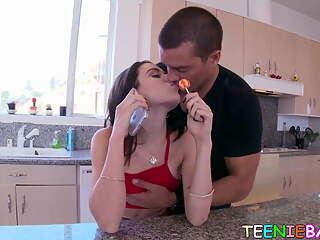 Stunning teen Lana Rhoades drilled while feasting