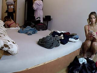 4 young girls at changing room, upskirt treats, voyeur cam